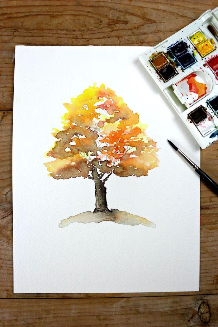 Arbre dessin aquarelle, idée de dessin automne arbre beauté, apprendre à dessiner un arbre automnal