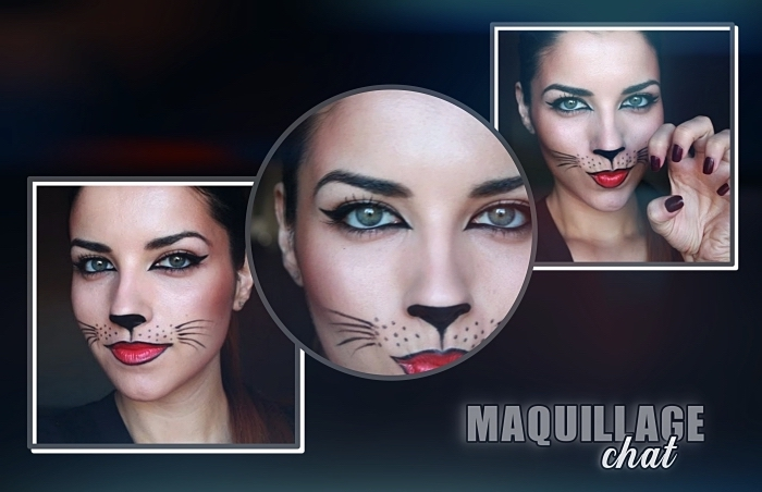 maquillage halloween simple, technique dessin moustaches et nez de chat sur visage femme chat pour Halloween