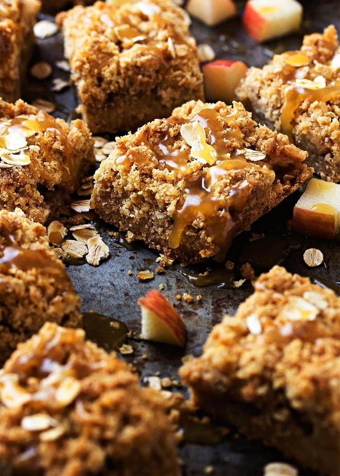 carrés moelleux aux pommes et aux flocons d'avoine, dessert crousti-fondant aux pommes, dessert aux pommes facile et rapide