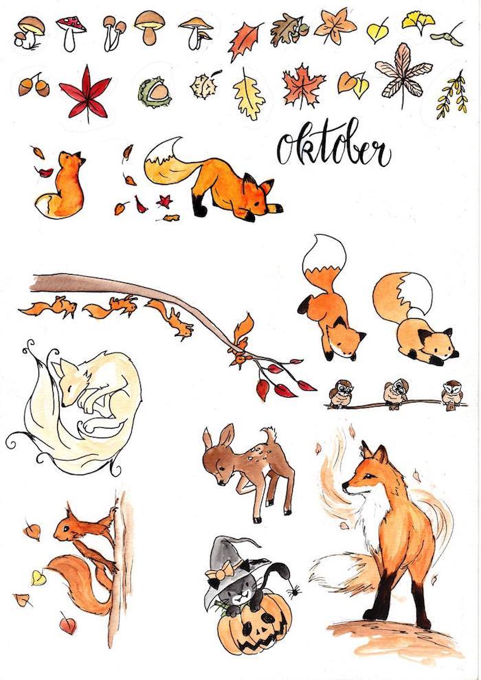 Éléments à apprendre dessiner, comment dessiner un renard, citrouille halloween et chaton noir, dessin citrouille, photo de dessin automne inspiration