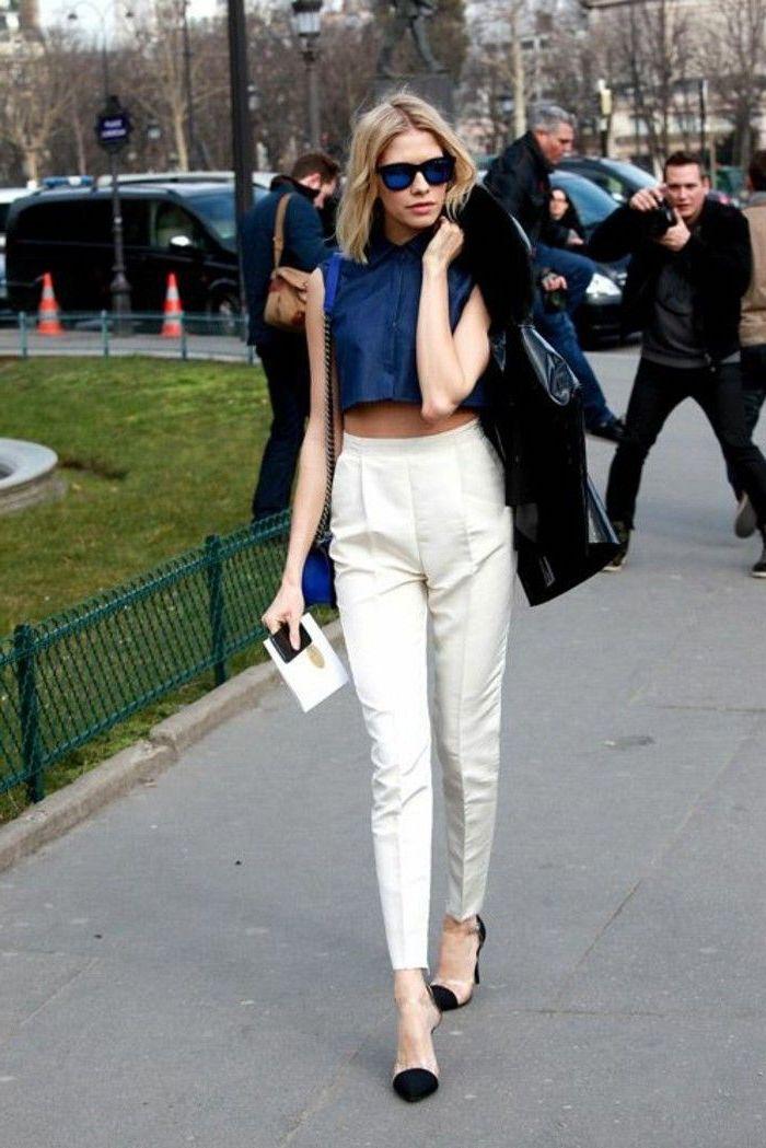 Blanche pantalon taille haute femme, inspiration pantalon carotte femme, top court
