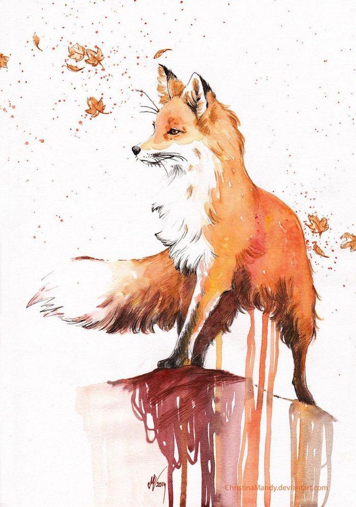 Beau dessin d'animal peinture aquarelle, comment dessiner un renard, dessin automne animaux et feuilles d'automne
