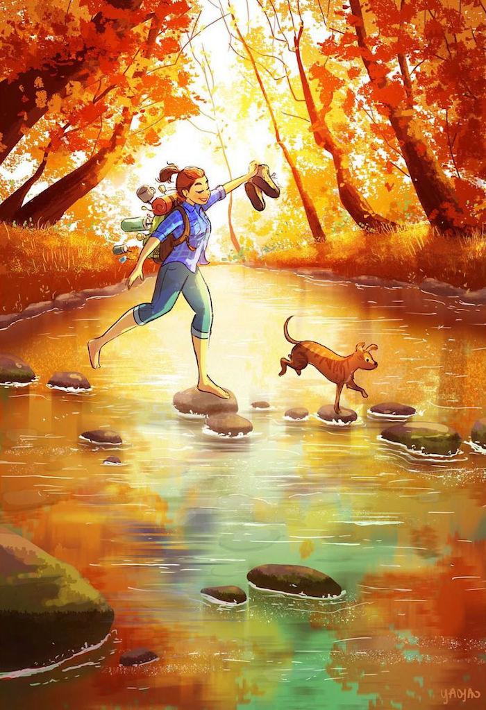 Fille et son chien promenade dans la foret automnal, dessin arbre, dessin d'automne s'inspirer de la nature
