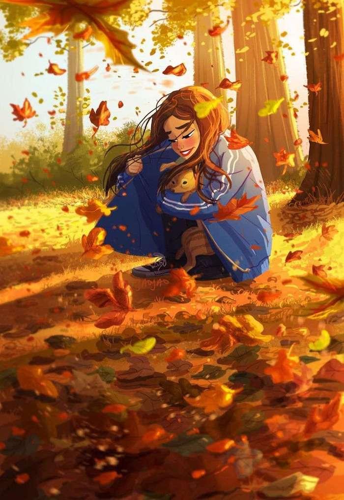 Fille et chien bébé dans la foret, promenade automnale, comment dessiner un arbre, dessin d'automne