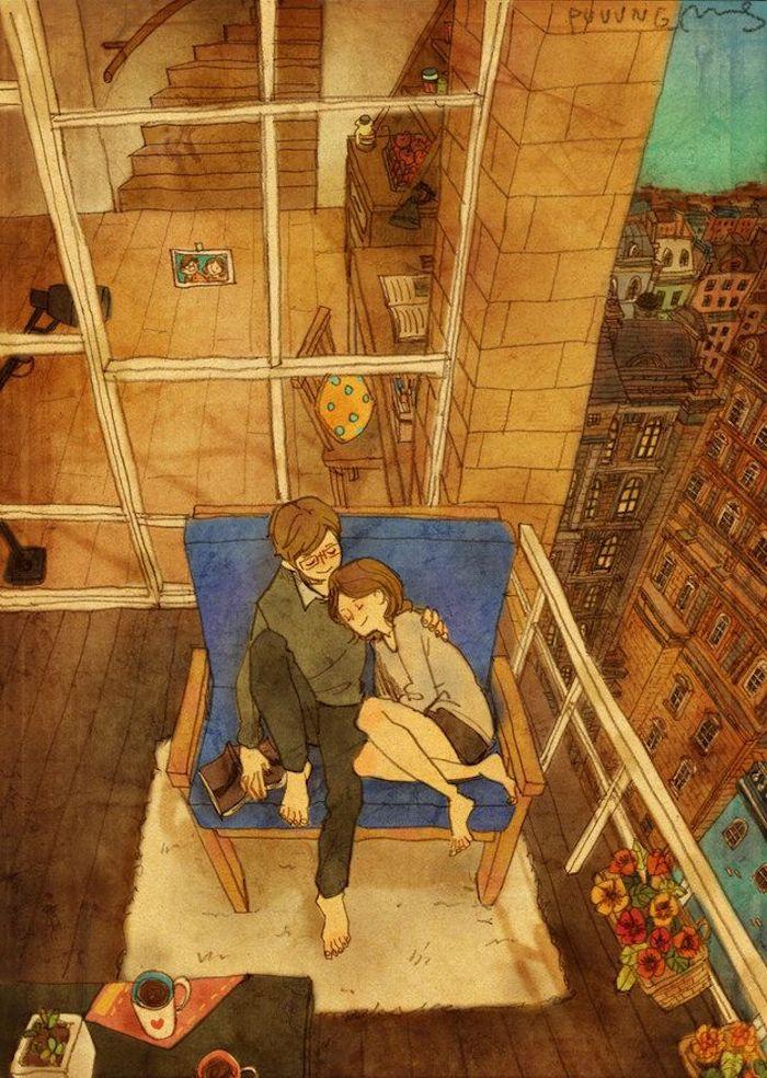 Couple amoureux à la terrasse en automne dessin coloré, automnal dessin fille et garçon assis sur un canapé, dessin automne