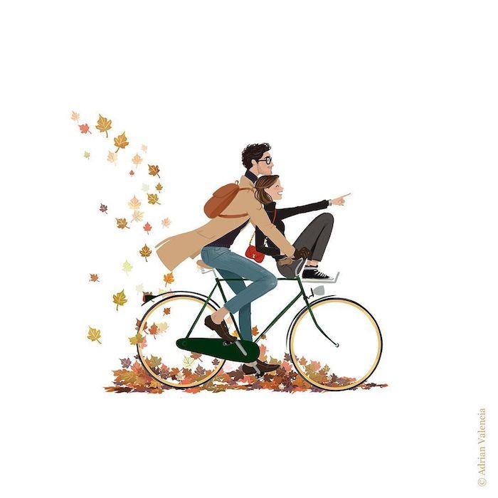 Amusement couple automne, bicyclette sur feuilles colorés, fille et garçon mignons, dessin ecureuil, chouette idée comment dessiner automne