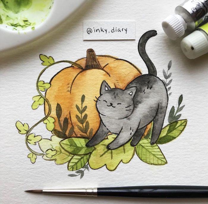 Chat et citrouille, adorable dessin de chaton, dessin d'automne citrouille, belle image paysage nature