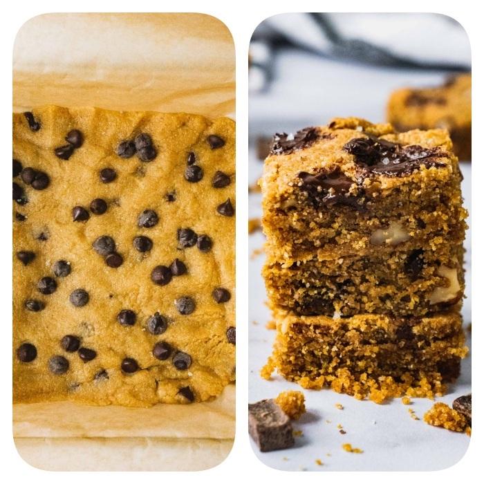 petites barres cookie, petit geateau aux copeaux de chocolat, noix dans pate a cookie traditionnelle