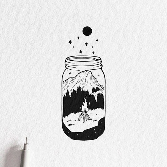 Bocal avec montagne et feu dedans, dessin coloriage automne, les dessins tatouage cool