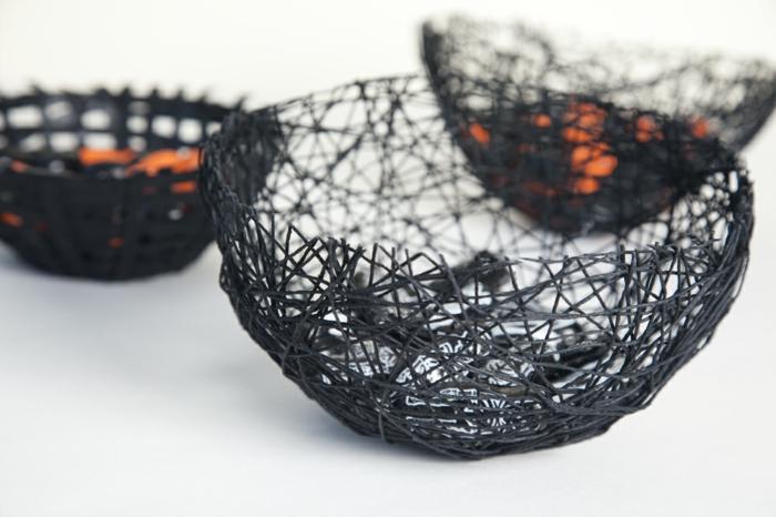 idée cadeau bricolage, modèle de bol diy en ficelle noire, comment fabriquer un bol avec colle ficelle et ballon