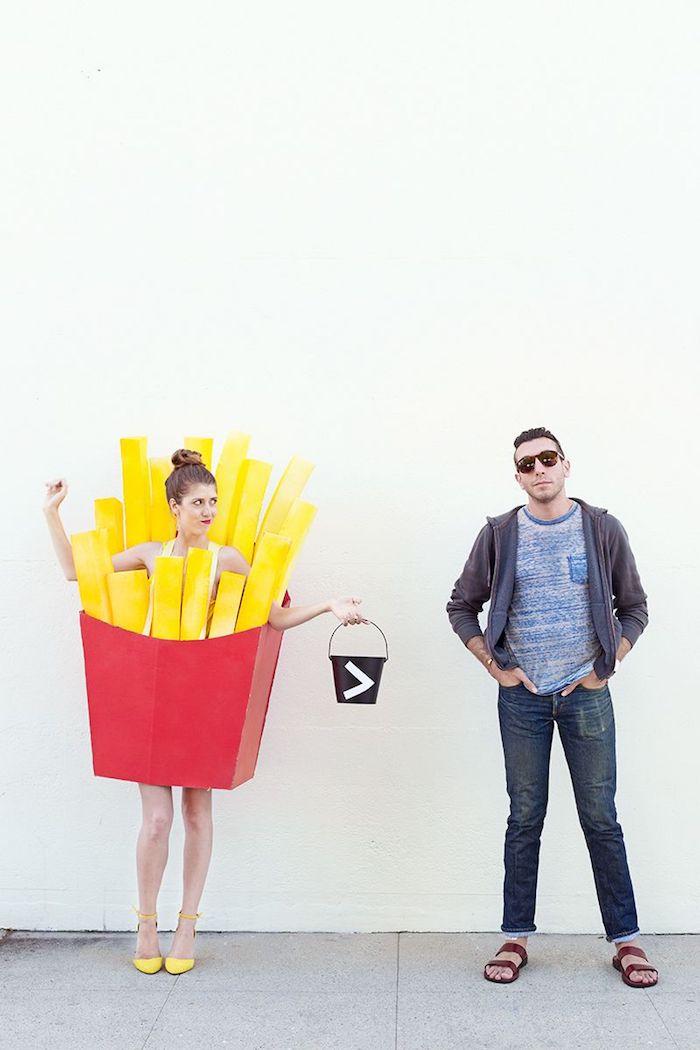 Frites avant les gars idée costume halloween facile pour couple, déguisement drôle pour deux, se déguiser comme des pommes frites