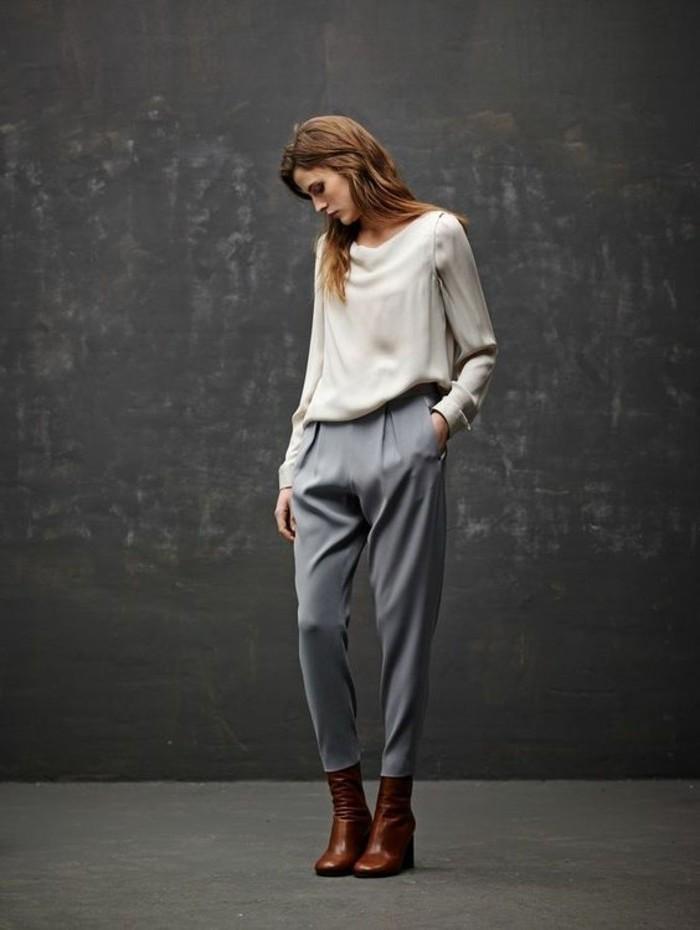 Tissu confortable et élégant pour blouse et pantalon moderne gris et blanc, idée pantalon a carreau femme, pantalon ecossais femme belle