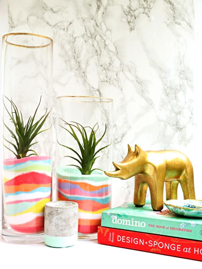 comment faire du sable de couleur pour vase arc-en-ciel personnalisé, du sable decoratif réalisé avec des craies