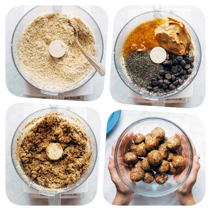 comment faire des boules energetique protéinées aux flacons d avoine, coco rapé, graines de chia, beurre de cacahuete, sirop d erable et pepites de chocolat