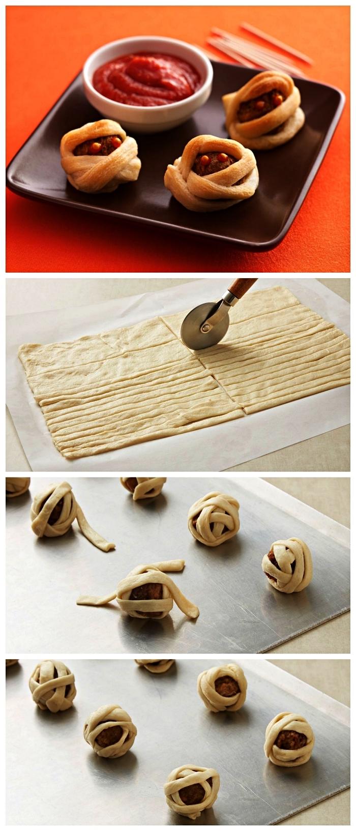 réaliser des momies en boulettes de viande enroulées de bandes de pâte feuilletée, recette halloween originale de boulettes momies