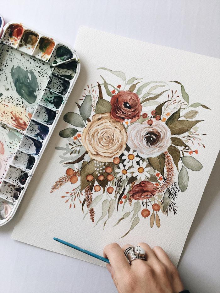 Fleurs d'automne dessin, dessin arbre sans feuille belle image, faire un carte de voeux simple aux belles couleurs