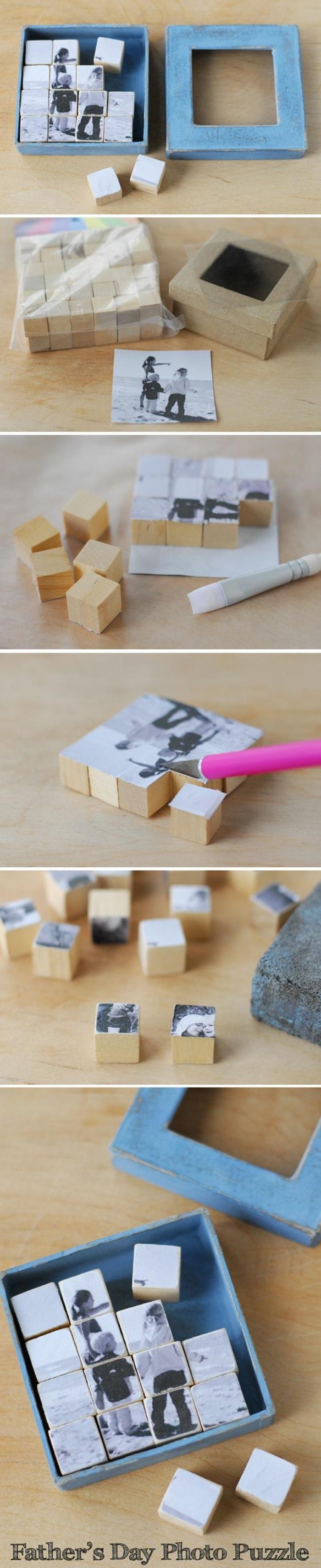 tutoriel boîte avec cubes photo en bois, bricolage fête des pères facile, exemple comment faire un puzzle avec photo