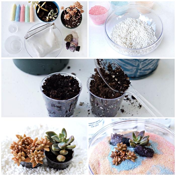 tuto pour réaliser un terrarium jardin zen avec succulentes, du gravier et du sable couleur rose et bleu