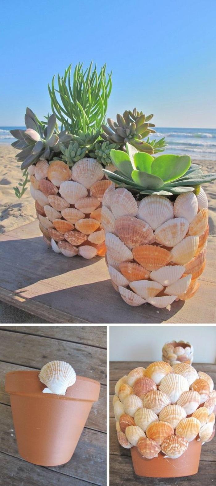 activité manuelle ado, idée comment décorer un pot fleur avec coquillage, idée que faire avec coquillages, objet déco jardin