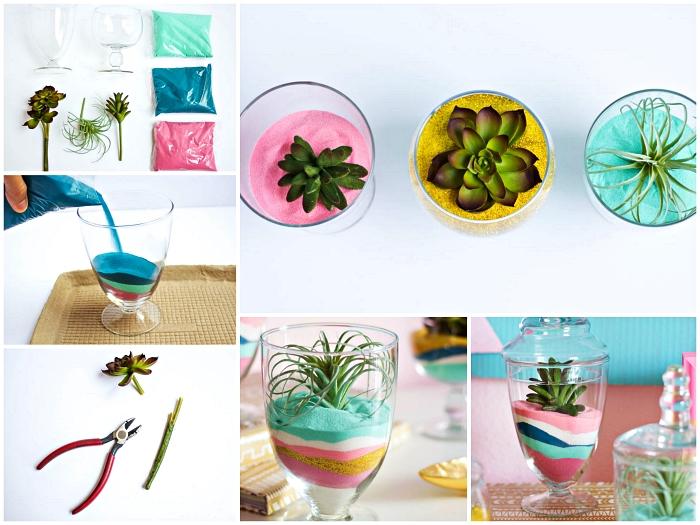 tuto pour faire un terrarium avec succulentes et du sable vert, jaune et rose, idée déco avec du sable à faire soi-même