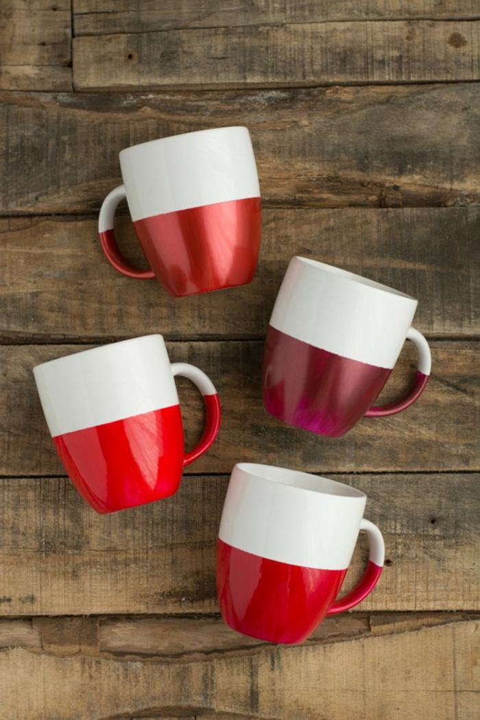 activité manuelle hiver, idée comment customiser une tasse café blanche, personnaliser une tasse avec peinture bicolore