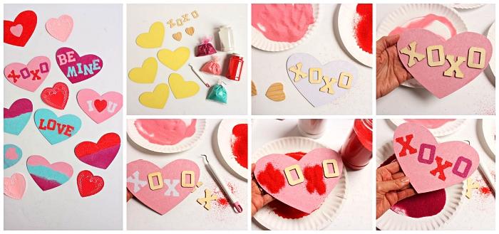 activité manuelle facile et rapide, bricolage de saint-valentin pour faire une carte coeur décorée de sable coloré