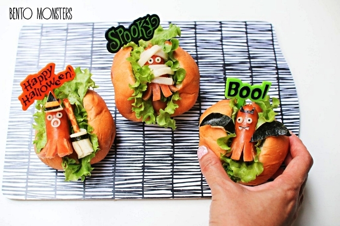 recette facile pour le gouter halloween, burgers maison spécial halloween à la salade verte et à la saucisse pieuvre