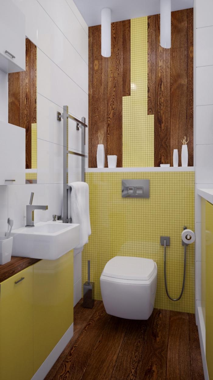 faience wc de couleur jaune, comment assortir les couleurs dans une salle de bain moderne, revêtement mural toilette