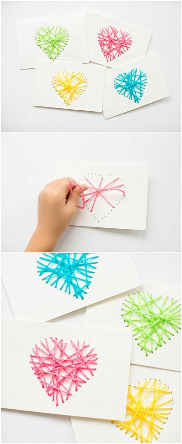 activité manuelle facile et rapide, faire une carte d'amour soi-même, modèle de carte en papier blanc avec coeur brodé