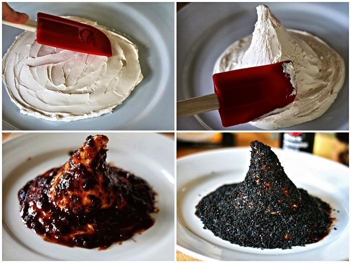 recette facile pour l'apéritif halloween, chapeaux de sorcière au fromage frais, chipotle à la framboise et sésame noir