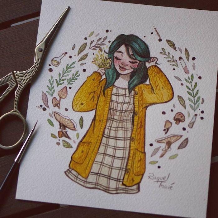 Dessin de fille qui aime l'automne, être heureux avec ce qui se passe, gilet jaune et robe carré, dessin arbre avec feuille jaune, dessin fille cheveux verts