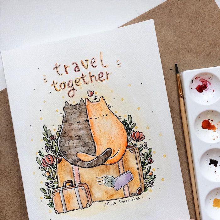 Deux chatons qui aiment voyager ensemble, atmosphère automnal, chat halloween dessin, dessin d automne