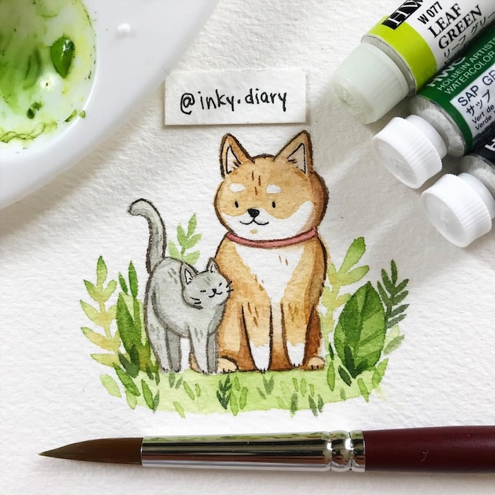 Chat et chien amis adorables, verdure autour chaton et chien, dessin automne simple, idée comment dessiner bien à l'aquarelle