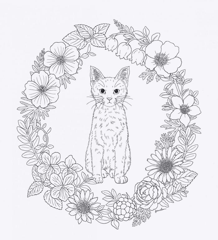 Chat au centre d'une couronne de fleurs, adorable dessin chaton à colorer, comment dessiner un animal mignon, chouette idée dessin