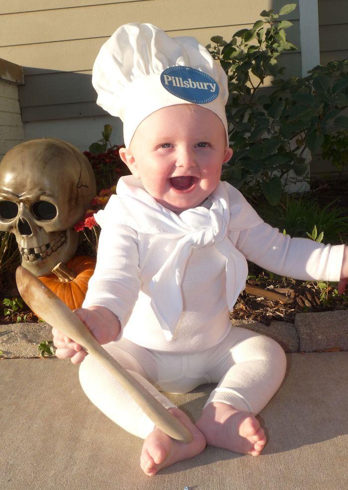 Chef pâtissier deguisement bebe garcon, déguisement halloween pour bébé, blanc costume avec chapeau de chef