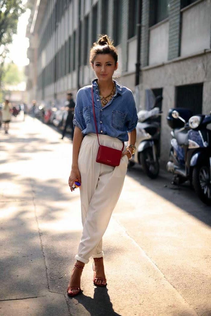 Blanc pantalon lin femme taille haute, pantalon a pince femme, taille haute pantalon, sac bandouillere petit rouge