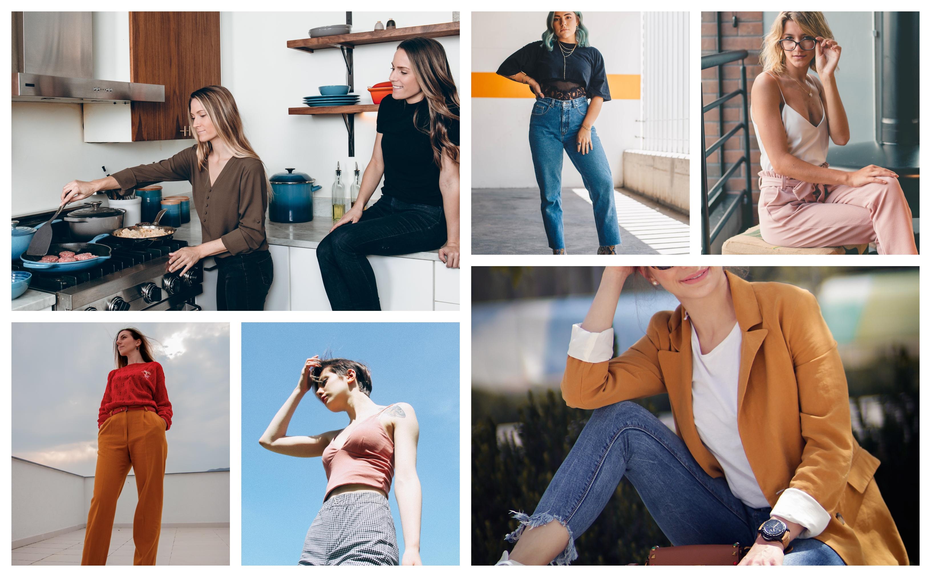 Collage différentes options pour porter un pantalon style carotte, pantalon avec bande, femme vêtements à la mode