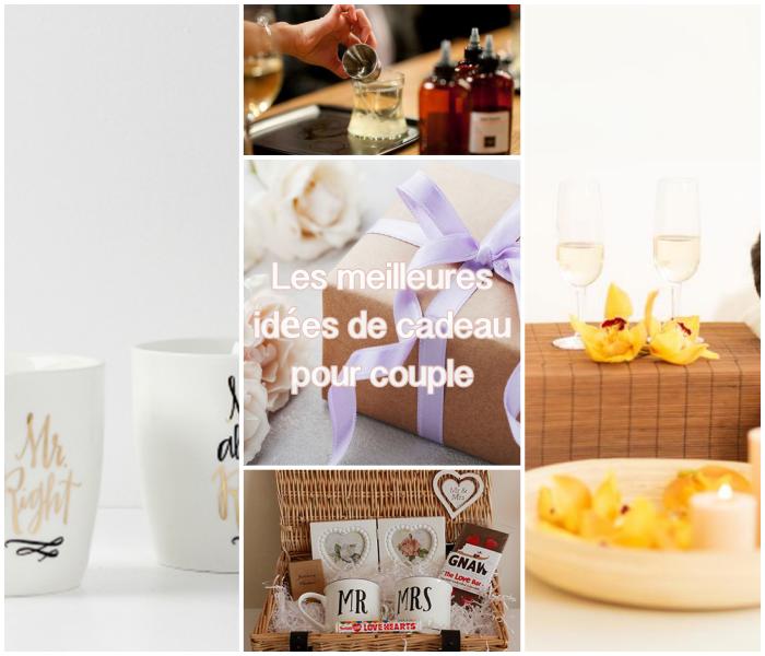 Collage avec idées de cadeau pour couple, coffret cadeau couple, spa traitement pour se relacher ensemble