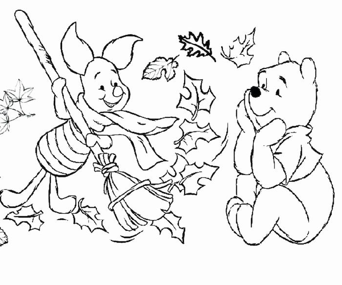 Winnie l'ourson dessin d'automne, coloriage feuille et animaux dessin automne, piglet et winnie cool dessin