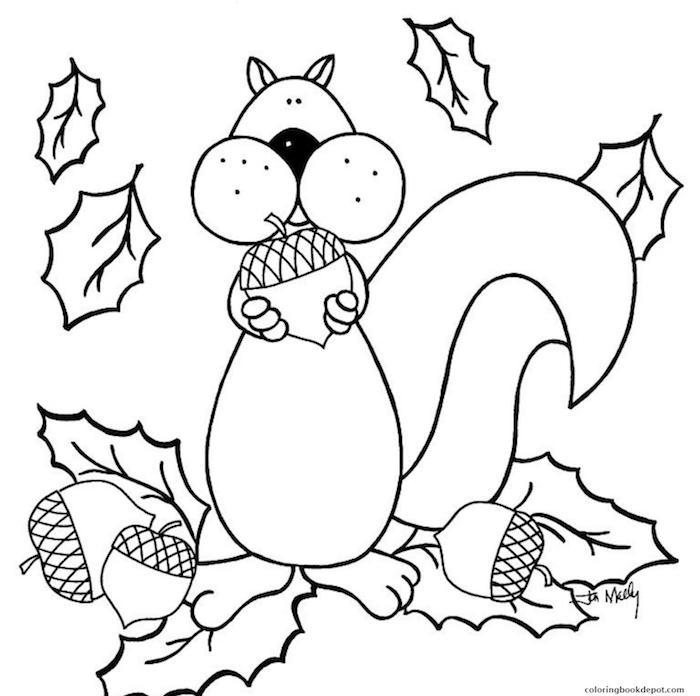 Coloriage automne écureuil, coloriage d'animaux, idée débutant dessin à recopier feuilles d'automne à colorer