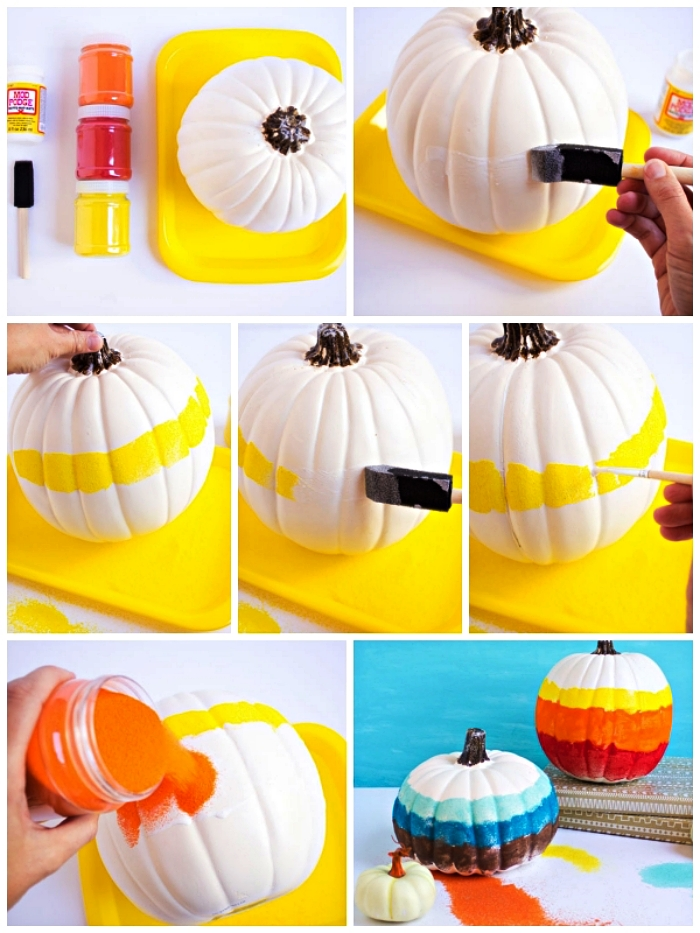 tuto pour réaliser une décoration de citrouille en sable coloré, activité manuelle facile et rapide sur le thème d'automne
