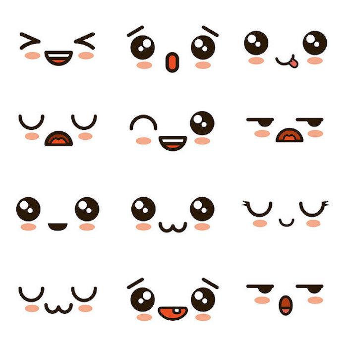 dessiner des diverses expressions de visage kawaii soi meme, idee comment exprimer l emotion en dessin kawaii