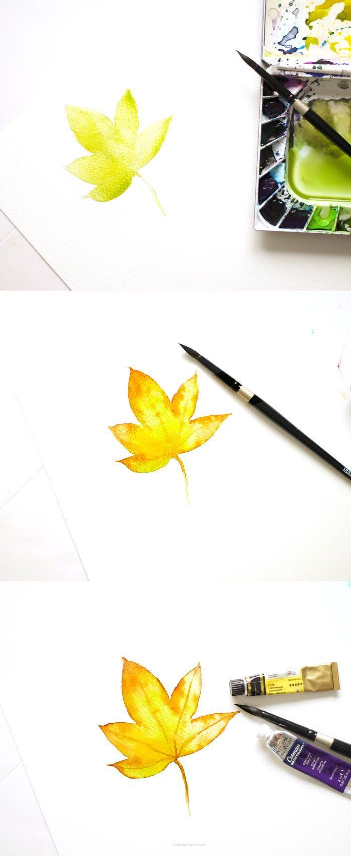 Apprendre à dessiner une feuille d'arbre automnal aquarelle, dessin feuille d'arbre, feuille d'automne dessin simple