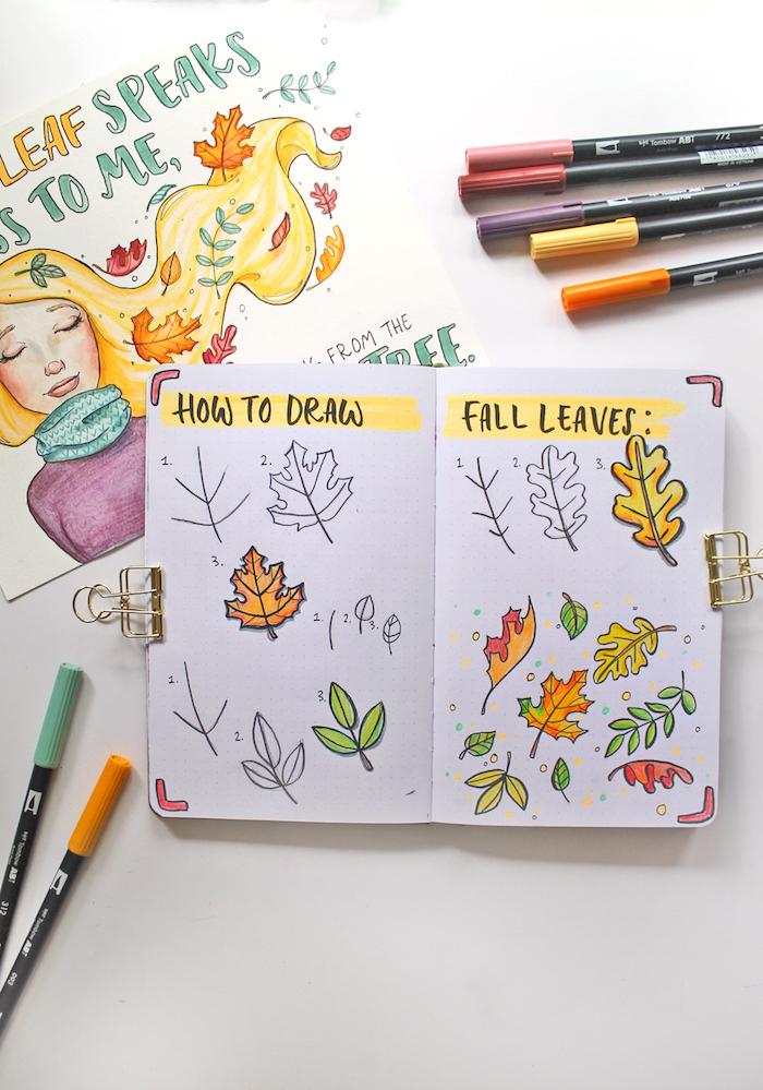 Tout type de feuille automnal, simple dessin arbre feuille d'automne, dessin simple et rapide à faire soi meme