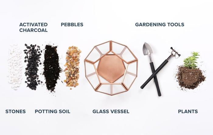 quels matériaux pour fabriquer un mini jardin dans contenant en verre, avec quoi remplir un diy terrarium plantes