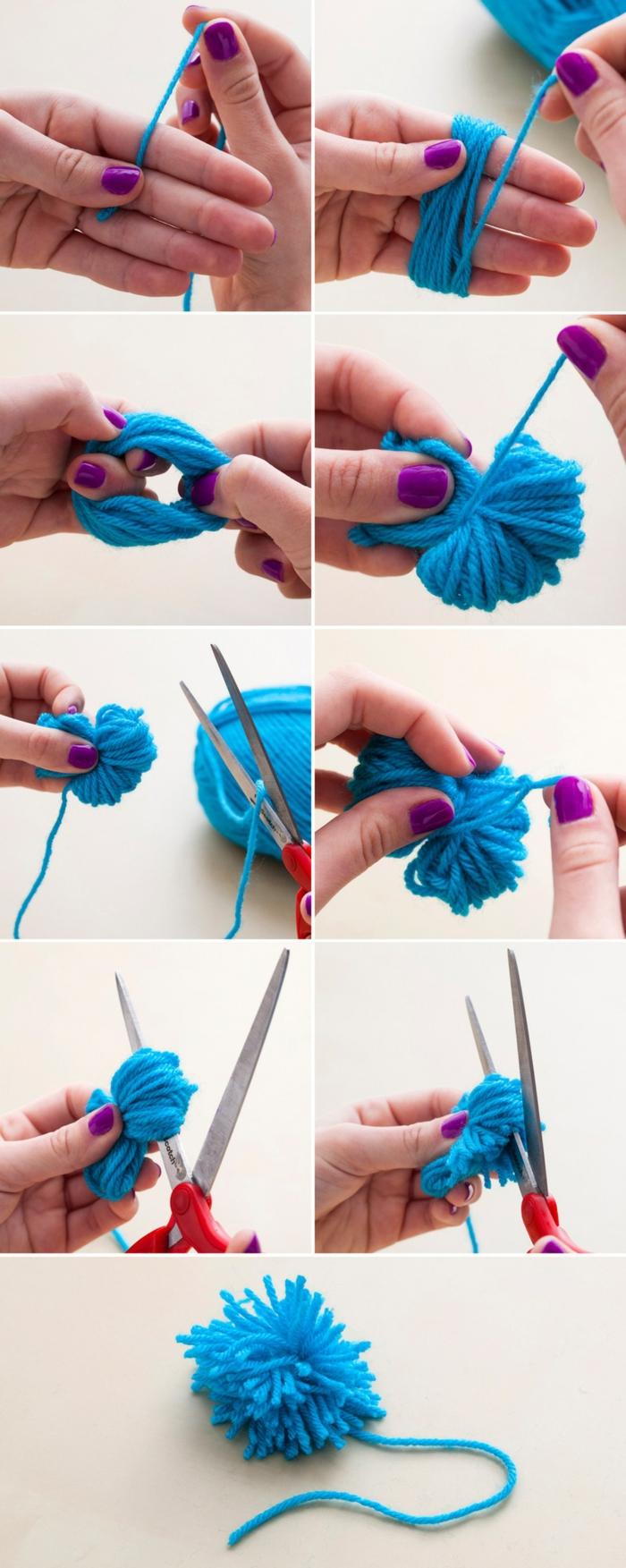pas à pas fabrication pompons, idée que faire avec pompons, diy tapis ombré en pompons bleus et blancs, création pompon