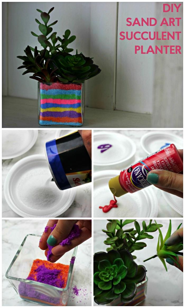 comment faire un terrarium pour succulentes décoré avec des couches de sables colorés, que faire avec du sable coloré