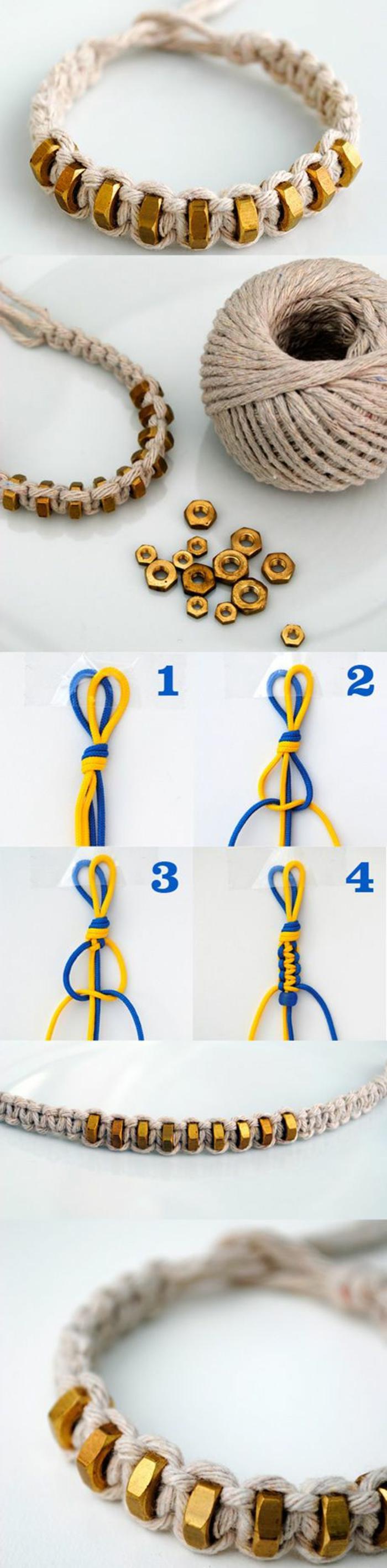 modèle de bracelet DIY avec cordelette, technique macramé pour faire ses bijoux, tuto noeuds macramé facile
