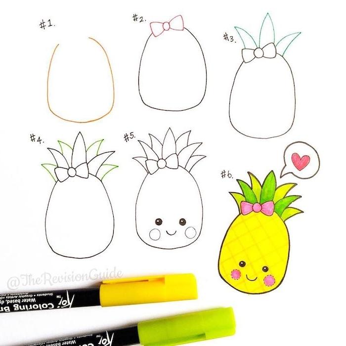 dessiner un ananas kawaii facilement par etape a partir d un demi cercle, avec des traits de visages