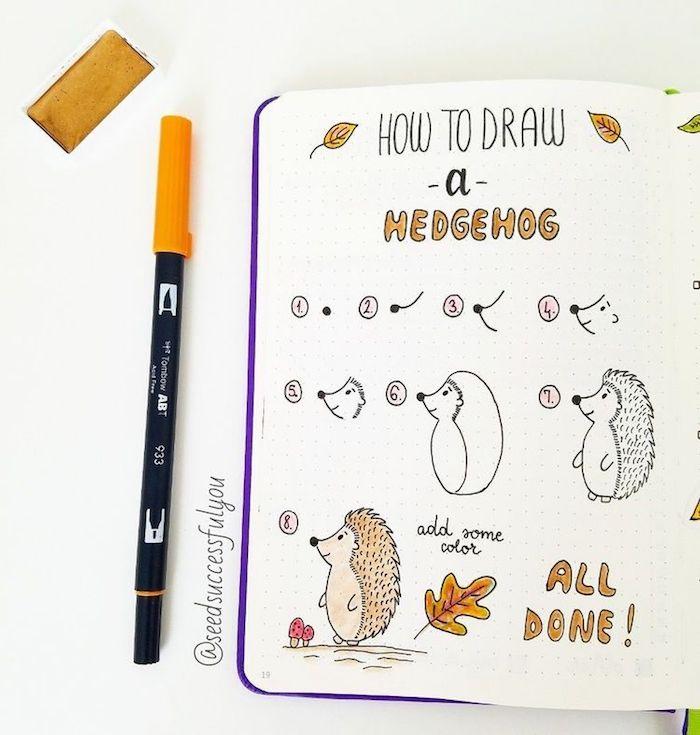 Comment dessiner un hérisson, animaux d'automne, dessin pas à pas, apprendre à dessiner par étape